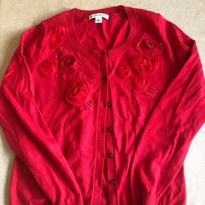 BR Red Flower Cardigan - Size M